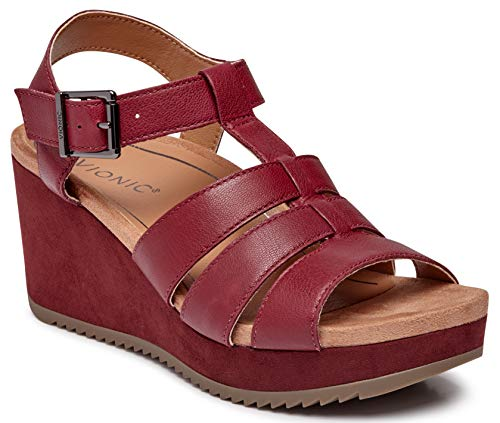 Vionic Women's Hoola Tawny T-Strap Wedge - Ladies Platform Sandal with Concealed Orthotic Arch Support Wine Leather 8.5 M - Platform Wedge New