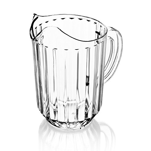 New Star Foodservice 46113 Polycarbonate Plastic Restaurant Water Pitcher, 60-Ounce, Clear, Set of - Ounce 64 Plastic Pitcher