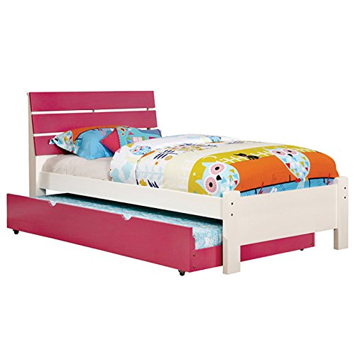Kimmel Pink & White Finish Twin Size 5-Piece Bedroom Set by 247SHOPATHOME