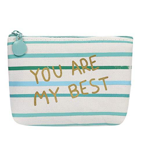Zlolia Famale Cute Fashion Purse Zipper Wallet Pattern Card Clutch Canvas Wristlet