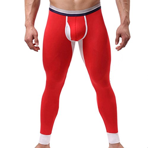 Alonea Winter Men Modal Long Johns Thermal Tight Pant Underwear Leggings (XL, Red)