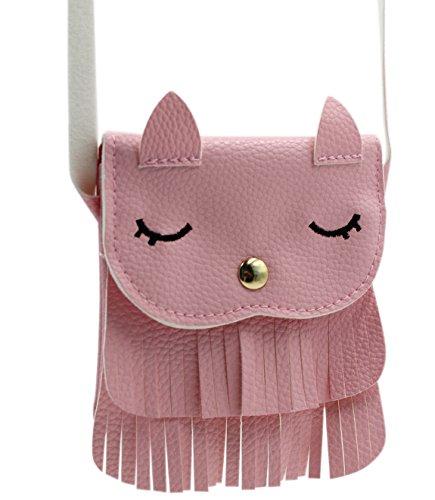 Naovio Cat Tassel Shoulder Bag Small Coin Purse Crossbody Satchel for Kids Girls, Pink