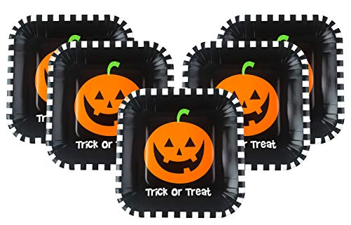 Halloween Party Pumpkin Dessert Plates - 7 inch Square - 40 Count Bulk -