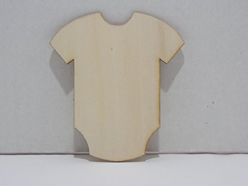 Package of 12 Unfinished Wood Cutouts for Painting and Crafting (Wood Burn Edge Baby Onesie)