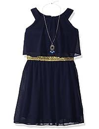 Big Girls' Halter Popover Dress with Decorative Trim at Waist