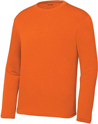c9d02ba139cc Galleon - DRI-EQUIP Youth Long Sleeve Moisture Wicking Athletic Shirts,M-Deep  Orange