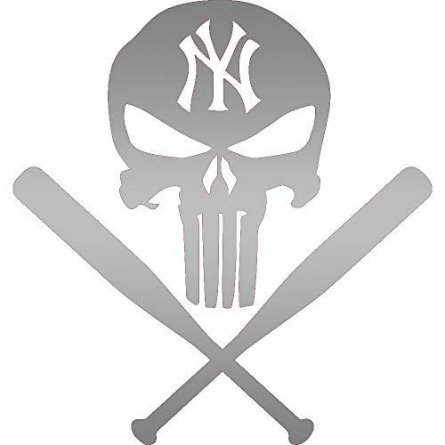 - MLB PUNISHER NEW YORK YANKEES BASEBALL BATS (METALLIC SILVER) (SET OF 2) PREMIUM WATERPROOF VINYL DECAL STICKERS LAPTOP PHONE ACCESSORY HELMET CAR WINDOW BUMPER MUG TUBER CUP DOOR WALL DECORATION