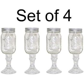 Mason Jar Wine Glass Stemware, Set of 4