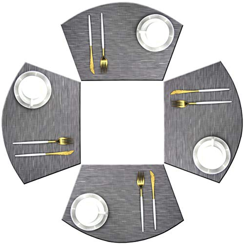 Bright Dream Wedge Placemats for Round Dining Table Woven Vinyl Non Slip Plastic Table Mats Set of 4(Grey)