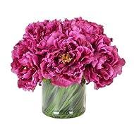 Creative Displays Magenta Peony Bouquet in Acrylic Water Glass Vase
