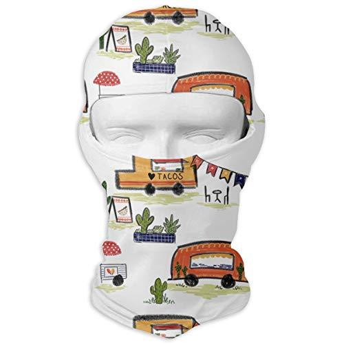 Taco Trucks Men Women Balaclava Neck Hood Full Face Mask Hat Sunscreen Windproof Breathable Quick Drying White ()