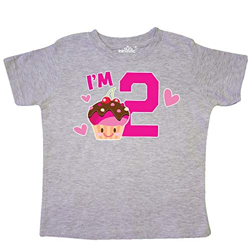 inktastic - I'm 2 with Cute Cupcake and Toddler T-Shirt 4T Heather Grey 36417