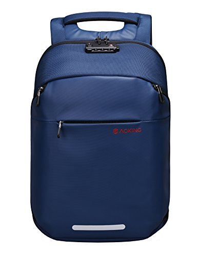 Aoking TSA Lock Anti Theft Water Resistant 15.6 Inch Laptop School Travel Backpack with USB Charging Port (Blue)