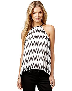 Guess Pleated Chevron-Print Top