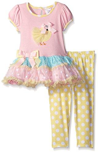 [Sweet Heart Rose Little Girls' Tiered Chick Applique Legging Set, Multi, 6X] (Sweetheart Girl)