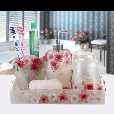 DJ Conjunto de baño, conjunto de accesorios de baño de 6 piezas, juego de