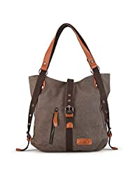 SHANGRI-LA Purse Handbag for Women Canvas Tote Bag Casual Shoulder Bag School Bag Rucksack Convertible Backpack