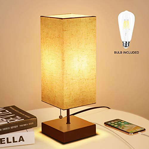 (Bedside Table Lamp with USB Charging Port and LED Bulb, KEDSUM Nightstand Desk Lamp with Square Fabric Shade and Wooden Base for Bedroom, Living Room, Kids Room, College Dorm, Coffee Table, Bookcase)