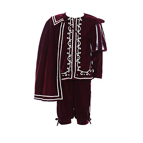 Elizabethan Tudor Medieval Renaissance Outfit Costume for Men with Short Cape (L) Red ()