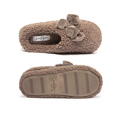 Jessica Simpson Womens Plush Marshmallow Slide On House Slipper Clog with Memory Foam (Size Medium, Taupe)
