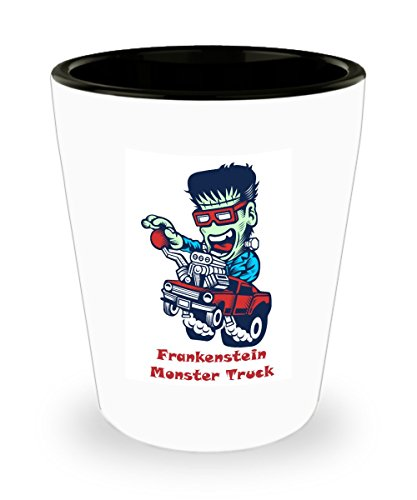 Monster Truck Driver Halloween Costume (Frankenstein Monster Truck Cartoon Shot Glass Gift)