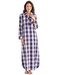 PajamaGram Ladies Nightgown Soft Flannel - Plaid Nightgown, Blue