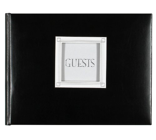 C.R. Gibson Black Leather Guest Book with Photo Window Cover, 94 Sheets, 9'' x -