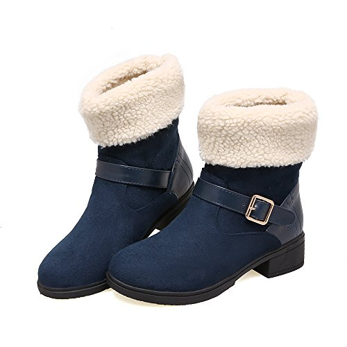 Show Shine Dames Gespen Dikke Hak Korte Snowboots Blauw