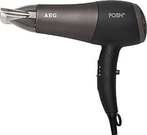 AEG HTD 5649 - Secador de pelo profesional iónico con difusor, 2 niveles de temperatura y velocidad, mango abatible, 2200 W, color negro
