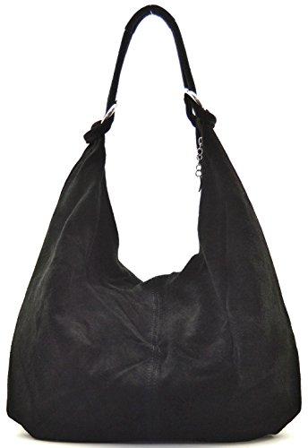 Cuir-Destock sac à main cuir nubuck femme porté main épaule Modèle bloom - nouvelle collection 2018 Noir