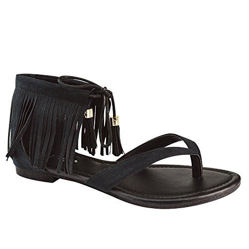 Womens Fringe Lace Up Thong Flat Dress Sandals Black zgxn3kyme