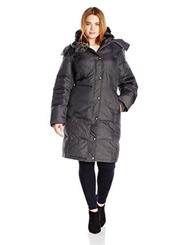 London Fog Women's Plus-Size Mid-Length Faux-Fur Collar Down Coat with Hood, Gunmetal, 2X (Coat Women Down Sale)