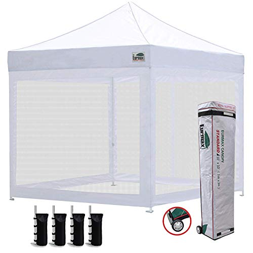 Eurmax 10×10 Ez Pop up Canopy Screen Houses Shelter Commercial Tent with Mesh Walls and Roller Bag,Bouns 4 Sandbags Weight White