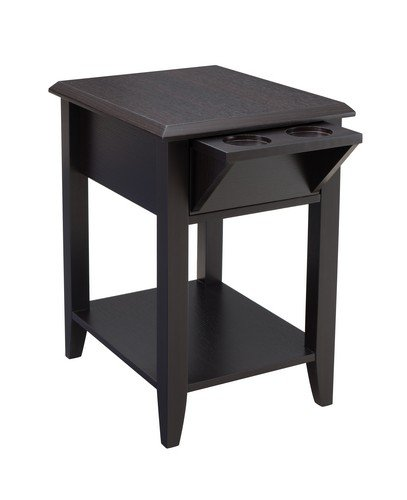 Simmons Upholstery Storage Chair Side Table, Merlot (Merlot Finish Chairside Table)