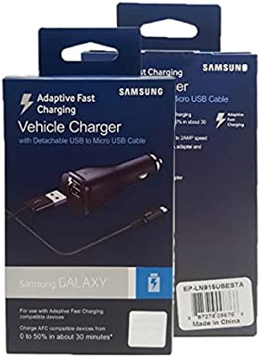 Samsung Adaptive Fast Charging Vehicle Car Charger - For S7/S6/Note 4/5/Edge (US Retail Packing)