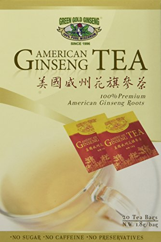 Wisconsin Ginseng Tea (American Ginseng Tea, BEST American Ginseng Tea, 20 Tea Bags, Pure American Ginseng Roots grown in Wisconsin by Green Gold Ginseng)