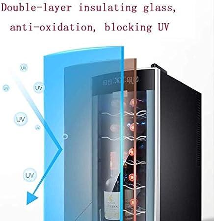 Nevera de vino Vino tinto termostato de la preservación de una puerta del refrigerador de vino Vino termostato despacho de casa pequeño bar Oficina de hielo del refrigerador de alimentos (Color: Negro