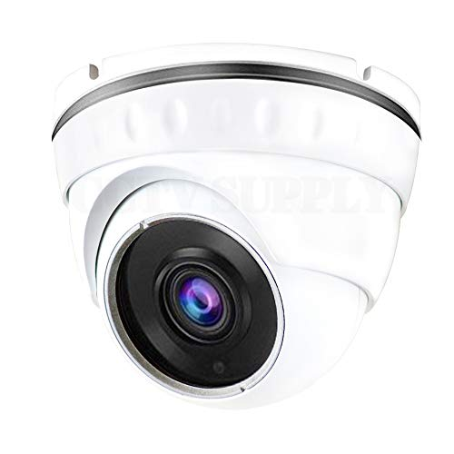 Cheap Real HD 1080P Dome HD Analog Outdoor Security Camera (Quadbrid 4-in1 HD-CVI/TVI/AHD/Analog), 2MP 1920×1080, 65ft Night Vision, Metal Housing, Wide Viewing Angle, White