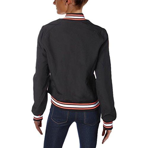 Black Shell Trim Soft Contrast Womens Jacket Bomber Reebok pfq08