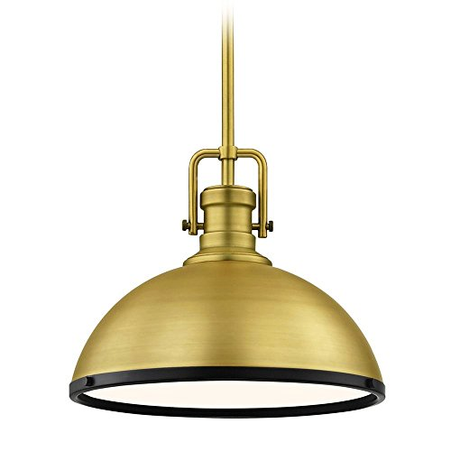 (Farmhouse Metal Pendant Light Brass/Black 13.38-inch Wide)