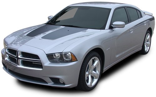 RECHARGE HOOD : 2011-2014 Dodge Charger RECHARGE HOOD Solid Split Hood Vinyl Graphic Decal Stripes (Fits SE SXT RT HEMI ALL MODELS) (Color-3M 5095 Matte Black)