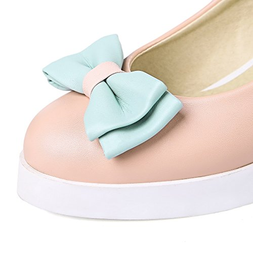Pink Shoes AllhqFashion Womens Solid PU Heels Round Pumps Closed High Pull Toe On aqPxr7dq