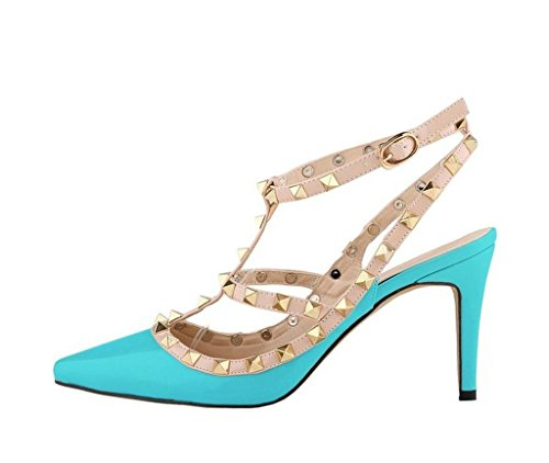 Katypeny Women's Cool Rivet Buckle Hollow Slip On Pointed Toe Stiletto High Heel Sandals Sky Blue aeEhOZZ4GT