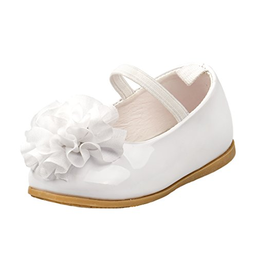 Josmo Girl's Patent Dressy Shoe With Chiffon Flower, White Patent, 5 M US Toddler Youth White Patent Footwear
