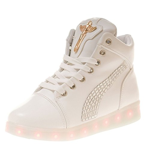 (Present:small towel)JUNGLEST® High Quality USB Charging LED Lighted Luminous for Unisex Couple Casual Sport Shoes Sneakers 7 color USB rechargeable LED l White WBQJphI6dg