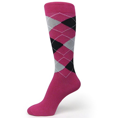 Spotlight Hosiery Men's Groomsmen Wedding Argyle Dress Socks-Hot Pink/Black/Light Grey