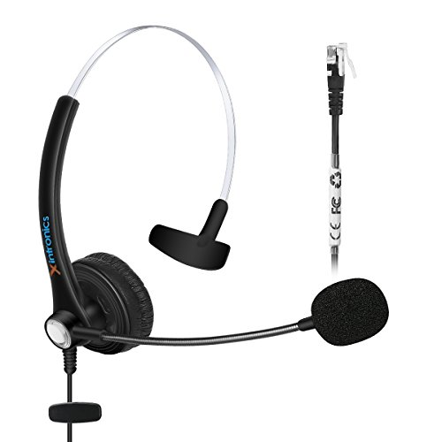 Xintronics Wired Telephone Headset Monaural with Noise Canceling Mic for Avaya 1616 9650 Cisco 7902 7912 Yealink T41 Snom 870 Grandstream GXP1400 Panasonic KXT Huawei C58 Zultys 37G IP Phones ()