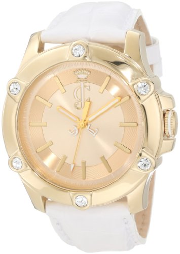 Leather Juicy White Couture - Juicy Couture Women's 1900938 Surfside Gold Case White Leather Strap Watch