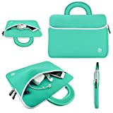 "Kozmicc 11.6"" 12"" Inch Laptop Sleeve Case (Teal Turquoise Mint Green/White) w/ Handle, Pocket for MacBook Air, Dell XPS 12, XPS 11, Latitude 12, Inspiron 11, Lenovo ThinkPad X230 X240, Helix, X131e, Twist, IdeaPad Yoga 11S 11, ASUS ZENBOOK, Transformer Book Trio, VivoBook, TAICHI 21, HP Pavilion 11t, EliteBook Revolve 810 G1, Acer Aspire ONE V5 S7, C7 Chromebook, Samsung ATIV Smart PC, Series 9 7 5 [Universally Fits Up to 12 x 9.5 Inch Laptops and Ultrabooks]"