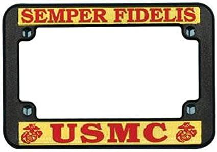 Semper Fidelis Marine Military Chrome Metal Auto License Plate Frame Car Tag Holder BISIRI U.S Marine Corps